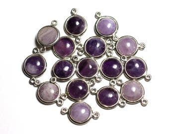 Amethyst round 10mm - 4558550082329 - connector 925 sterling silver and stone - 1pc