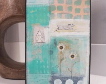 White Rabbit Wall Art- Bunny Rabbit Wall Art, Original Animal Paintings For Nursery