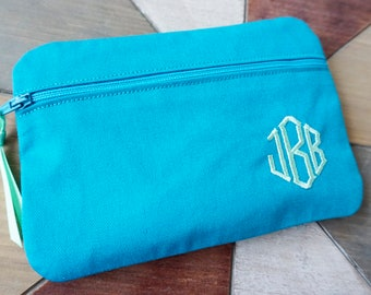 Monogram Makeup Bag, Personalized Pouch, Bridesmaid Gift, Cosmetic Bag, Make Up Bag, Teacher Gift, Mothers Day Gift, Monogram Clutch