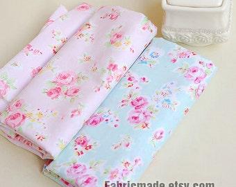 Sale- Aqua Blue Fabric Pink Flower Fabric, Shabby Chic Flower Fabric, Aqua Polka Dots Cotton,  Pink Floral Cotton Fabric- 1/2 Yard