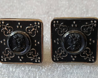 Large Vintage Cameo Mens Cuff Links