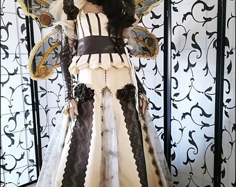 Steampunk costume, alternative wedding, steampunk wedding, Haute couture dress only ONE available, steampunk fashion, hand embroidered