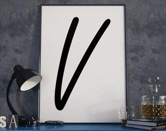 V Freestyle-Script,V Poster, V Letter, Initial Print, Letter Print, Printable Art, Letter Artwork, Minimal Art, Nordic Home Decor, V Art