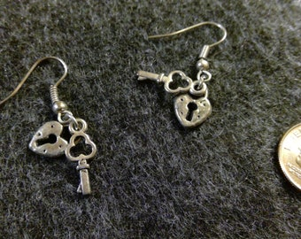 Earrings - Lock & Key - Silver Toned