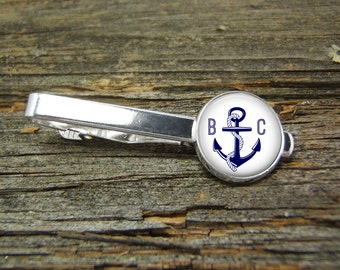 Anchor Nautical Monogram Blue White Rope Tie Clip-Silver-Gift Box-USA-Wedding-Keepsake-Man Gift-Groom-Groomsmen-Men-Science-Sailing-Captain
