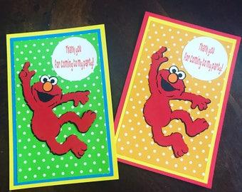 elmo thank you cards, Sesame Street decorations, elmo birthday party, elmo party decorations, elmo party, set of 12