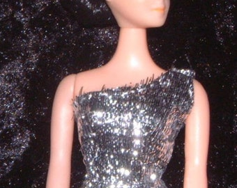 Duchess OOAK topper Dawn doll outfit handsewn metallic lame gown and cloak vintage fabric