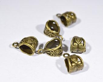8 Bronze necklace bails   bronze bails   earring bails   jewelry findings   bronze toned pendant bails   bronze pendant bails   BR1116