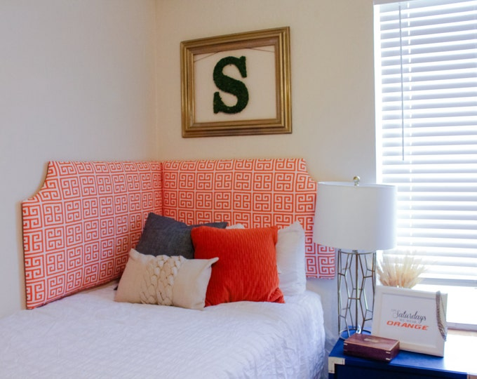 Dorm Headboard, Solid or Printed Fabric, Orange Collection