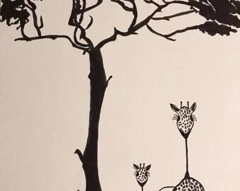 Ink Sketch Giraffes