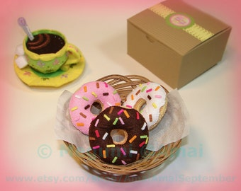 Hand-stitched Felt Glazed Doughnut Ornament - food fried donut pastry treat snack shop pink sugar honey cute toy gift