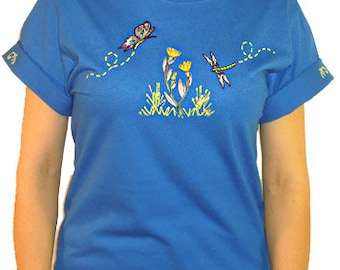 Embroidered Butterfly Dragonfly Flower Unique Custom Women's Cute Fun Glitter Cool Bling Bug V-neck T shirt Cindy's Handmade Shirts Boutique