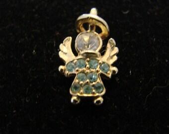 Vintage Aquamarine Gold Tone March Birthstone Angel Charm