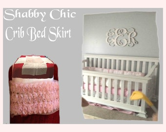 Handmade Shabby Chic Crib Bedskirt for Baby Girl,  White with Rose Trim , Standard Size,  With Reduced Shipping