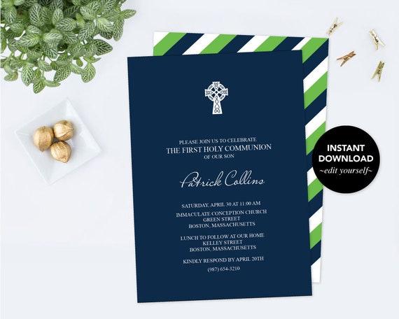 Boy first communion invitation baptism invite pdf invite solutioingenieria Images