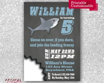 Shark Attack Birthday Invitation - Blue and Gray - Printable & Personalized - A-00008