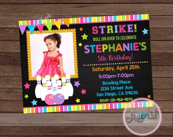 Bowling Party Invitation, Girl Bowling Birthday Invitation with Photo, Bowling Birthday Party Invitation for Girls, Digital File