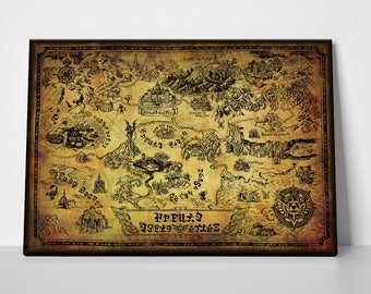 Legend of zelda map etsy legend of zelda untranslated vintage world map gumiabroncs Images