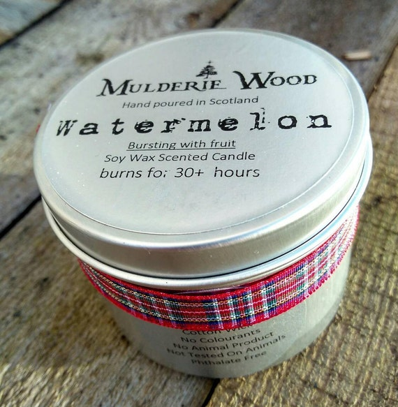 Fresh & Fruity Watermelon Scented Soy Wax Tin Candle Handmade 30+ hour burn