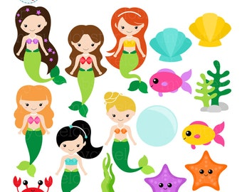Mermaids Clipart Set - clip art set of mermaids, sea creatures, cute mermaids, fish - personal use, small commercial use, instant download
