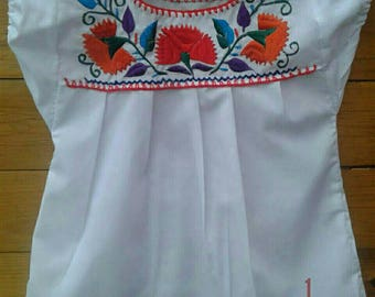 Mexican Embroidered Girl Blouse size 4T years old