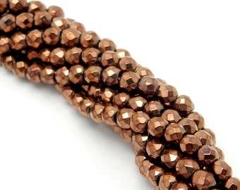 Shiny Bronze Toned Hematite Beaded Strand - 3mm Beads - 1 STRAND (S92B4-02)