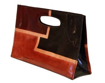 Indian Leather Bag, Genuine Leather Earthtone Handbag, Real leather Pocket Book, Hand Painted Mondrian Tote, Vintage Women Leather Bag Purse