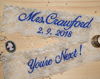 Personalized Wedding Garters, Bride's Garter, Toss Garter. Embroidered Garters, Garter for wedding. 25.75 for the set Keepsake and Toss