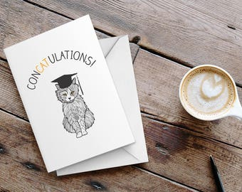 "Funny Graduation Card - ""Concatulations"" Funny Cat Card"