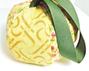 Handmade GOLDEN DELICIOUS Pin Cushion with Ribbon Strap - Yellow with Pink Roses