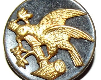 Antique Button ~ Metal Button Eagle on a Branch ~ Victorian Metal Picture Button