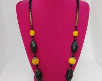 African Amber, Silver, Wood and Bead Tribal Necklace