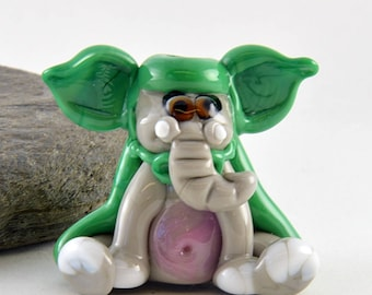 YODA-phant, Elephant whimiscal focal glass lampwork bead, collectible dog bead, Izzybeads SRA