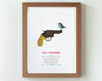 Illustration, print, To kill a mockingbird. Based novel by Harper Lee, Tutticonfetti, wall art, art decor, printed art, decor home,gift idea