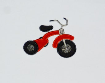 "Embroidered Iron On Applique- ""Tricycle"""