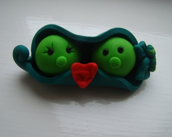 Two Peas in a Pod Polymer Clay Cake Topper