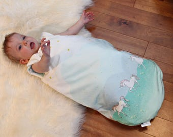 Baby SleepSack / Wearable Blanket - Unicorns - Minky - White, Pink, Green, Blue - Shower - Nursery