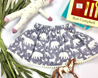 Girls Grey and White Woodland Animal Skirt | Toddler Baby Skirt