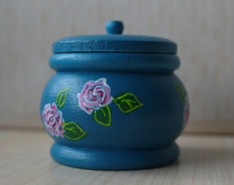 Tiny Rose Turquoise Hand-Painted Wooden Trinket Pot, Tooth Fairy Box, Ring Box, Pink Rose / Floral / Flower , Art & Collectibles
