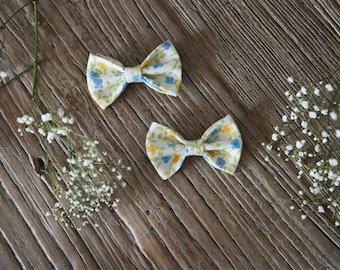 TERESA Hair Ribbons COMBO-Mini//blue and yellow flowers