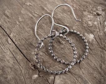 Hammered Silver Hoop Earrings, Small Hoop Earrings, Minimal Hoop Earrings, Sterling Silver Earrings