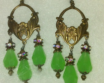 Art Nouveau Chandelier Earrings with Green Pear drops