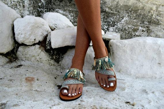 Bohemian Sandals leather leather Symi Bohemian Fringe Fringe Fqw4gxC
