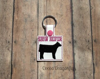 Show Heifer Key Fob, Pink Cow Key Chain 4H