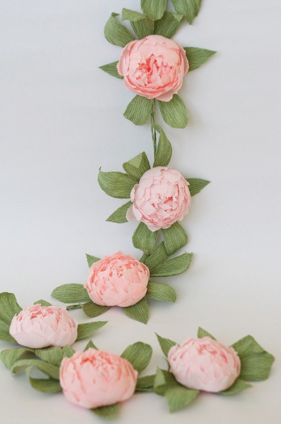 Bridal garland wedding garland paper flower garland peonies mightylinksfo Choice Image