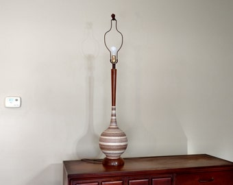 Mid Century Teak and Plaster Table Lamp