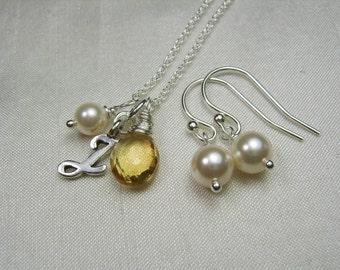 Bridesmaid Jewelry Set of 3 Personalized Bridesmaid Necklace Earrings Pearl Gemstone Monogram Necklace Bridesmaid Gift Wedding Jewelry Set