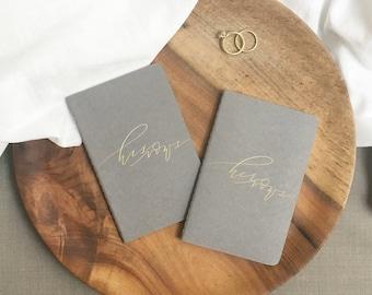 calligraphy VOW JOURNALS · set of vow journals · his vows her vows · moleskine calligraphy vows handlettering handlettered vows LGBT wedding