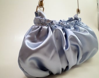 Evening Bag in Baby Blue Satin
