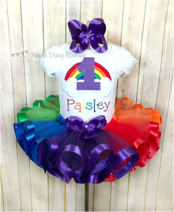 Rainbow First Birthday Ribbon Trim Tutu Outfit Rainbow Baby
